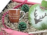 ideas in boxes Geschenkset - Weihnachtsgruß von Herzen mit Wärmflasche 1l in Herzform (Elch)