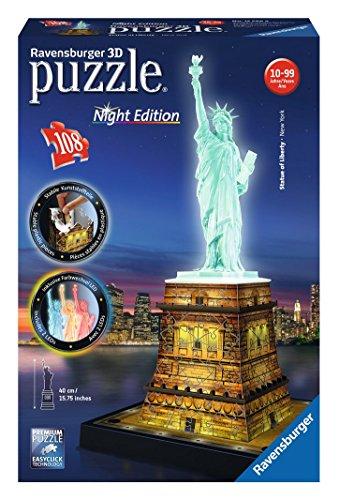 RAVENSBURGER 12596 - Puzzle 3d Night Edition - Statua Della Liberta'
