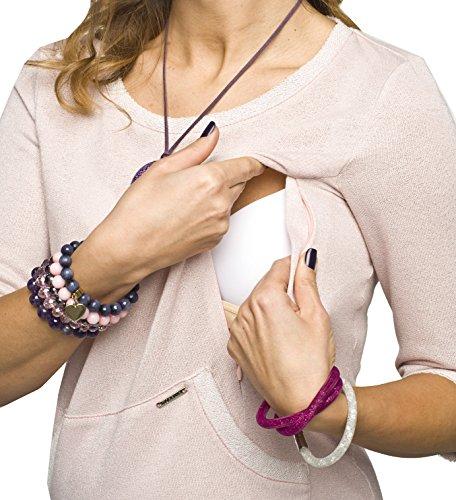 2in1 Umstandskleid / Stillkleid, gleichzeitig bequeme und sehr schöne Schwangerschaftstunika, Stilltunika, Modell: ERMI Rosa