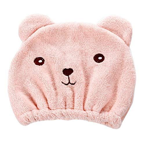 Floridivy Frauen-Mädchen-Nette Karikatur-Bären-weich Wasserabsorbierende, Schnelltrocknende Haar-Tuch-Hut-Kappe Bad-Werkzeug