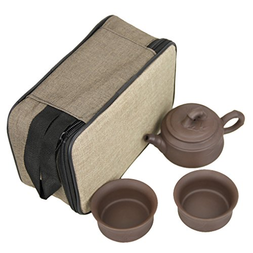 Portable 6 in 1 Travel Teapot Set with 2 Tea Cups, Wood Tea Tray, Teapot Tong Clip, Tea Towl, Cushioned Storage Carry Bag for Traveling Outdoor Camping Picnic (B style)