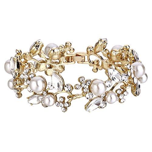 Flyonce Frauen Österreichische Kristall Weiß Simulierte Perle Braut Blume Blatt Armband Klar Gold-Ton