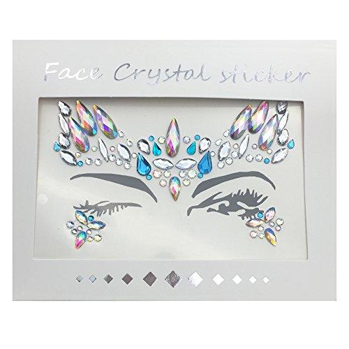 CHuangQi Gesicht Juwelen Edelsteine   Tattoos Aufkleber, Temporäre Tätowierung Gesicht Juwelen Crystal Face Glitter Strass Bindi für Festival Party - Tattoos Juwelen