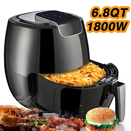 COOCHEER Heißluftfritteuse Smart Fryer Airfryer mit igitalem Touch Display, 2 in 1 Heißluft-Fritteuse, 1800W, 8 Programme, 6,5Liter, BPA-frei
