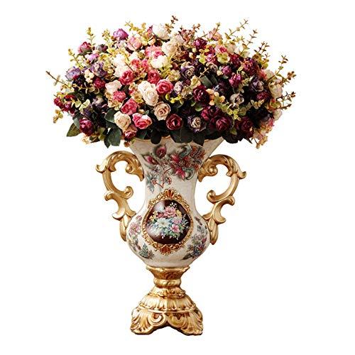 ZFF Europäisch Vase Vintage Amerikanisch Land Harz Künstliche Blumen Veranstalter Zuhause Dekoration Verzierungen Tabelle Mittelstücke Vase
