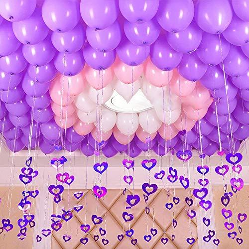 s - 100pcs Heart Shape Balloons Pendant Ribbon Bride Latex Inflatable Balloon Birthday Party Wedding - Ballons Accessories Balloons ()