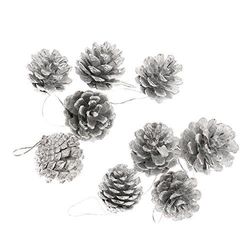 9pz Cono Albero Di Partito Pino Ornamento Festa Di Natale Decorazione Appesa Argento