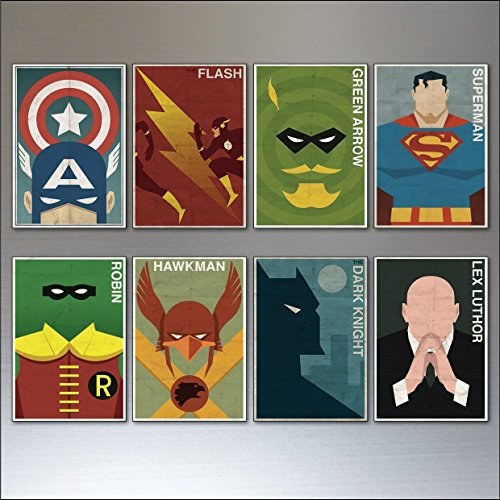 Super Hero und Bösewicht Kühlschrankmagnete - Set von 8 großen Kühlschrankmagnete No.1