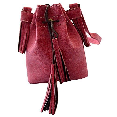 TOOGOO(R) Frauenbeutel Quaste Fashion Eimer Tasche Patchwork Frauen Schulterbeutel Kurierbeutel Frauenhandtasche PU-Leder lila Matte-Leder rot