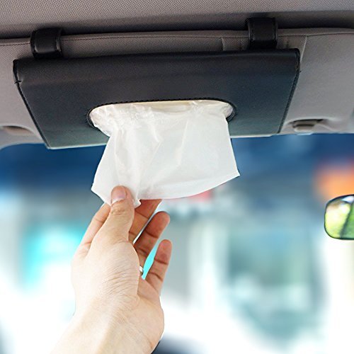 LOCEN Auto Sonnenblenden Tuch PU Leder Tücherbox Gewebe Halter Papierhalter Schwarz