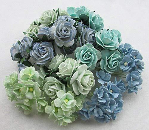 Haarstyling-Set grün ton Künstliche Blumen Papier Rose Blume Hochzeit Karte Verzierung Scrapbook Craft, Produkt aus Thailand by Thai verziert