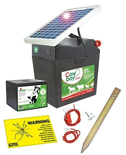 Weidezaungerät Cowboy B 5000 SOLAR - 9V inkl. Batterie, Solar, komplettes Zubehör zum Anschluss - verlängert die Laufzeit um bis zu 140% (Cowboys Garten)
