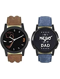 JIYA Enterprise New Fashion 0004-0007 Fast Selling 2 Combo Branded Leather Analog Watch - For Boys And Men Analog...