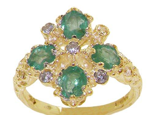 Luxus Damen Ring Solide 18 Karat (750) Gelbgold mit Smaragd und Zirkonia - Verfügbare Größen : 47 bis 68