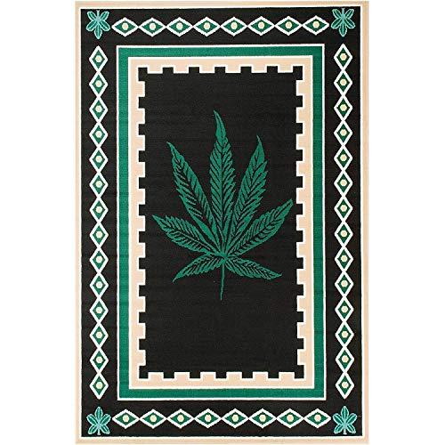 Rugs 4 Less Collection 420 Weed Marihuana Teppich Teppich Schwarz Grün Braun Ganja Mary Jane 1 (61 x 7,6 cm) - Grün Und Braun-teppiche