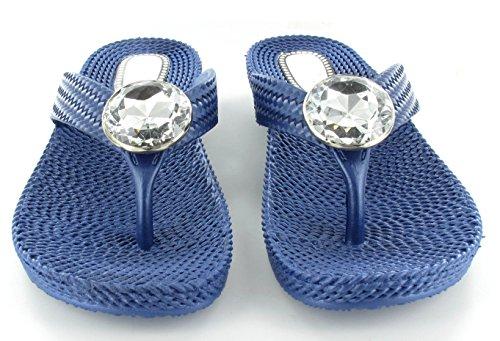 Femme de plage dété pour femme Strass String Confort Sandales Tongs Sizes3–8NEUF Bleu Marine