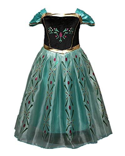 Beunique® Eiskönigin Prinzessin Schneeflocke Süßer Ausschnitt Kostüm Kinder Glanz Kleid Mädchen Weihnachten Verkleidung Karneval Party Halloween (Belle Erwachsene Für Günstige Kostüme)