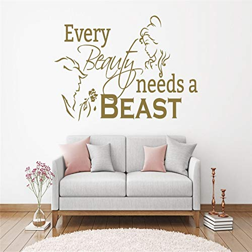 und das Biest - Romantischer Wandaufkleber Home Art Mural Quotes Jede Schönheit braucht einen Tier-Wandaufkleber Girls Bedoom 57x109cm ()