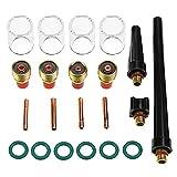 Aussel 21 Stücke TIG Schweißbrenner Liefert Schweißen Collet Gas Objektiv Glas Tasse Accessoory Kit Für WP-9/20/25 (21pcs kit)