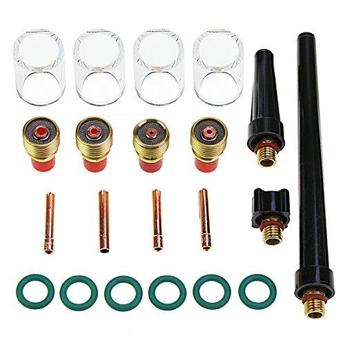 Aussel 21 Stücke TIG Schweißbrenner Liefert Schweißen Collet Gas Objektiv Glas Tasse Accessoory Kit Für WP-9/20/25 (21pcs kit) -