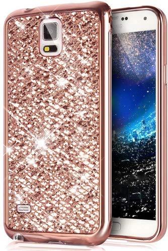 Kompatibel mit Galaxy Note 4 Hülle,Galaxy Note 4 Schutzhülle,Glänzend Glitzer Bling Diamant Weich Überzug TPU Bumper Handy Hülle Tasche Metallic Chrom Bumper Handyhülle Schutzhülle,Rose Gold