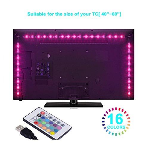 G-Hawk LED TV Hintergrundbeleuchtung, 2 Meter TV USB Lichtleiste mit Fernbedienung hinter TV-Beleuchtung für 40 bis 60 Zoll TV Bias Lighting.