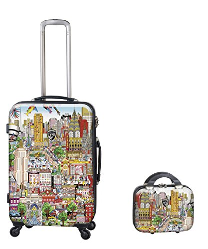 PREMIUM DESIGNER Hartschalen Kofferset 2 tlg. - Heys Künstler Fazzino New York Trolley mit 4 Rollen Medium + Beauty Case 243654011&Künstler&34+36