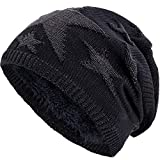 Compagno Sternen Wintermütze warm gefütterte Beanie sportlich-elegantes Flechtmuster mit weichem Fleece-Futter Mütze, Farbe:Schwarz