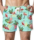 Goodstoworld Badeshorts Männer Flamingo 3D Druck Kurze Hose Herren Freizeithose Badehose Schnell Trocknend Sommer Beachshorts XL