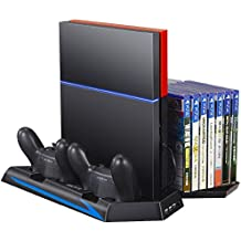 Zacro PS4 Standfuß Vertikalständer PS4 Kühler mit Dual Ladestation für PlayStation 4 - DualShock 4 Wireless Controller, Mit Dual USB HUB Ports und Disc Storge Manager, Bis zu 14 Stück Disc zu stellen, Multifunctional