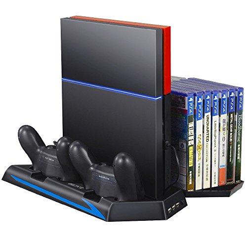 Zacro PS4 Standfuß Vertikalständer PS4 Kühler mit Dual Ladestation für PlayStation 4 - DualShock 4 Wireless Controller, Mit Dual USB HUB Ports und Disc Storge Manager, Inkl. 8 Stück PS4 Controller Thumbstick Kappen