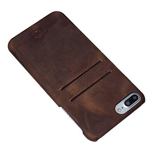 "Solo Pelle iPhone 7 Plus / 8 Plus Case Lederhülle Ledertasche Backcover "" Slimfit "" in Vintage Braun Vintage Braun"