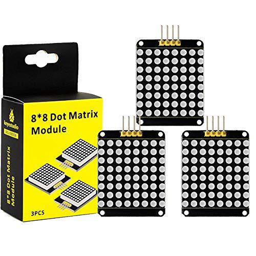 KEYESTUDIO I2C 8 x 8 LED Matrix HT16 K33 DOT Matrix modulo color rosso catodo comune per Arduino Mega 2560 R3 Project (3 pezzi)
