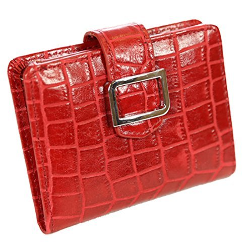 Red Tri-fold Wallet (ID Stronghold RFID Geldbörse Leder Croco Mini Trifold für Frauen mit bestem Schutz - Rot - Klein)