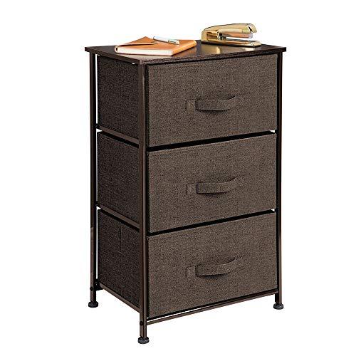 mDesign Kommode aus Stoff - praktischer Schrank Organizer mit 3 Schubladen - Aufbewahrungssystem für Schlafzimmer, Apartments und kleine Wohnräume - espressobraun -