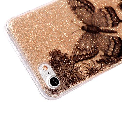 Custodia iPhone 7, ISAKEN Cover per Apple iPhone 7 [TPU Shock-Absorption] - Marmo Modello Naturale Custodia Soft TPU Sottile Custodia Case Morbido Protettiva Bumper Caso, Viola Farfalle nero
