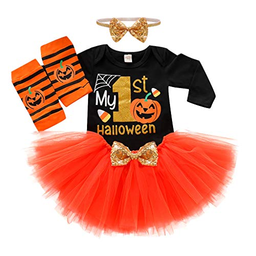stüm 0Y-2Y Kinder Langarm Halloween Brief Kürbis Print Habery Mesh Rock Beine Set Haarband 4 Stück Set Halloween für Halloween Party Festival Karneval Parade Orange 80 ()