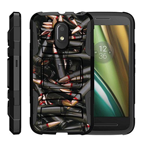turtlearmor | Motorola Moto E3Fall | Moto E 3. Gen. Fall | Moto G4Play Schutzhülle [Hyper Schock] Rugged Hybrid Shell Ständer Holster Gürtelclip Roboter Militär Krieg Armee Design -, Black Bullets (G Moto Cricket Phone)