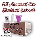 Aura Caffè - Kit Accessori Caffè - 450 Bustine Di Zucchero - 450 Palette - 450 Bicchierini Colorati (Kit Cortesia)