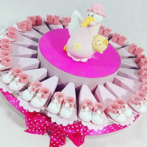 Sindy bomboniere bomboniere nascita bimba scarpette con cicogna salvadanaio centrale - torta da 20 fette con 20 oggetti + centrale + confetti rosa crispo apr