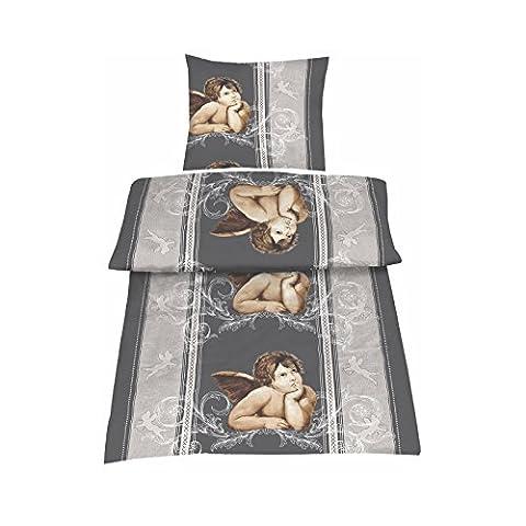Biber Bettwäsche Set 135x200 cm 2 oder 4 teilige Bettgarnitur im Romantik-Look aus 100% Baumwolle Schwarz Grau mit Engel, Set:2-teilig