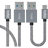 Câble USB type C,TecMad câble USB C vers USB 3.0, USB C3.0 nylon tressé câble USB de synchronisation de données + câble de chargement rapide pour Huawei P9 P10 plus honneur 8 , Samsung Galaxy S8, apple Nouveau Macbook ,Nintendo Switchet D'autres Dispositifs qui Supportent USB C -[0.25m/0.8ft+1m/3.3ft Gris ]