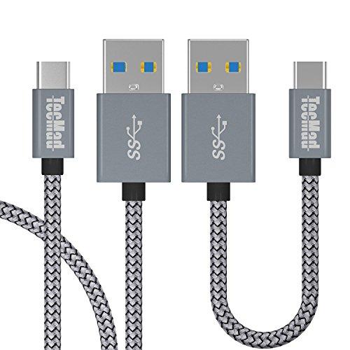 Laptop-ladegerät-schnur (USB Typ C Kabel, TecMad usb C3.0 [2Pack 0.8ft 3.3ft] grau Nylon geflochtene Schnur Schnelle Ladegerät mit Reversible Steckverbinder für Samsung Galaxy S8/s8+/note 8,LG G5 V20, Nexus 5X/6P, Google Pixel XL, Huawei P9/P10 Plus, Gopro Hero 5,OnePlus 2/3/5, Macbook 12