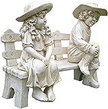 Deco Granit - Enfants sur Banc en Pierre reconstituée