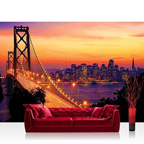 Vlies Fototapete 400x280 cm PREMIUM PLUS Wand Foto Tapete Wand Bild Vliestapete - USA Tapete Brücke Himmel Lightning San Francisco Skyline Nacht Golden Bridge orange - no. 1009