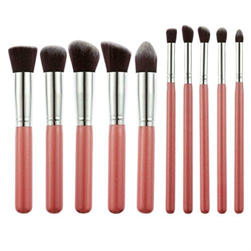 10 pcs/lot Lot de pinceaux de maquillage professionnels de style Kabuki Fond de teint Blush poudre Cosmétique Brosse S