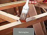 Holzfarbe seidenmatt Holzlack innen außen | BEKATEQ BE-420 Holzschutzfarbe auf Wasserbasis Geruchsarm | Holzmöbel streichen (1L, Betongrau)