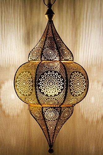 Lámpara Oriental Marroquí - lamparilla colgante - farola de techo Malha Dorado - 50cm - muy práctica para una iluminación excelente - transmite una decoración excelente refinada