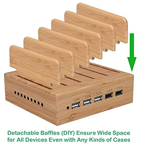 Yisen Handy Aus holz Bambus 5 Anschlüsse USB Ladestation für iPhone, iPad,  Universal Cell Phones, Tablets and Other USB-Charged Devices (PAL ...