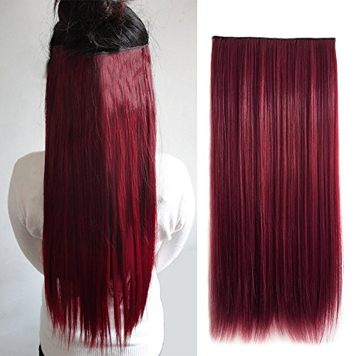 Rokoo vino rosso sintetico 5 clip in hair extensions hairpiece long straight natural hair prolunga 60 cm da donna